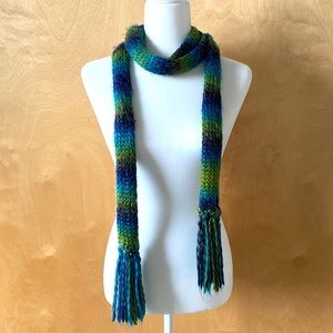 Accessories - Retro Skinny Blue & Green Knit Scarf, 00's Fashion